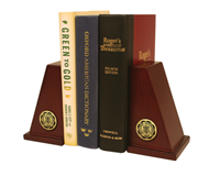 Millikin University Bookends - Gold Engraved Medallion Bookends