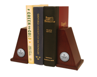 Kaplan College Bookends - Silver Engraved Medallion Bookends