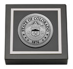 State of Colorado Paperweight - Silver Engraved Medallion Paperweight
