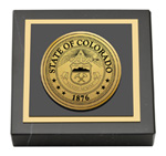 State of Colorado Paperweight - Gold Engraved Medallion Paperweight