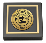 Young Harris College Paperweight - Gold Engraved Medallion Paperweight