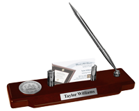 State of Delaware Desk Pen Set - Silver Engraved Medallion Desk Pen Set