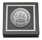 State of Delaware Paperweight - Silver Engraved Medallion Paperweight