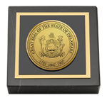 State of Delaware Paperweight - Gold Engraved Medallion Paperweight