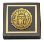 State of Georgia Paperweight - Gold Engraved Medallion Paperweight