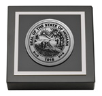 State of Indiana Paperweight - Silver Engraved Medallion Paperweight