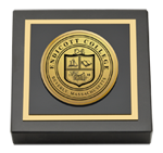 Endicott College Paperweight - Gold Engraved Medallion Paperweight