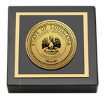 State of Louisiana Paperweight - Gold Engraved Medallion Paperweight