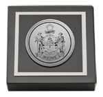 State of Maine Paperweight - Silver Engraved Medallion Paperweight