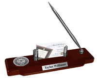 State of Mississippi Desk Pen Set - Silver Engraved Medallion Desk Pen Set
