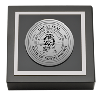 State of North Dakota Paperweight - Silver Engraved Medallion Paperweight