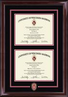 University of Wisconsin Madison Diploma Frame - Spirit Shield Medallion Double Diploma Edition Frame in Encore