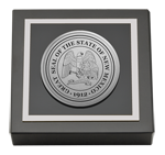 State of New Mexico Paperweight - Silver Engraved Medallion Paperweight