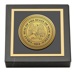 State of New Mexico Paperweight - Gold Engraved Medallion Paperweight