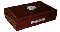 State of Oklahoma Desk Box - Silver Engraved Medallion Desk Box