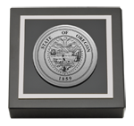 State of Oregon Paperweight - Silver Engraved Medallion Paperweight