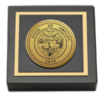 State of Oregon Paperweight - Gold Engraved Medallion Paperweight