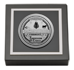 State of Vermont Paperweight - Silver Engraved Medallion Paperweight