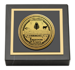 State of Vermont Paperweight - Gold Engraved Medallion Paperweight