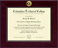 Columbus Technical College Diploma Frame - Century Gold Engraved Diploma Frame in Cordova