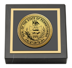 Commonwealth of Pennsylvania Paperweight - Gold Engraved Medallion Paperweight