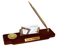 State of Rhode Island Desk Pen Set - Gold Engraved Medallion Desk Pen Set