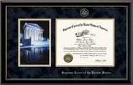 Supreme Court of the United States Certificate Frame - Night Reflection Scene Certificate Frame in Onyx Gold