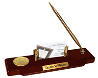 Sigma Alpha Epsilon Desk Pen Set - Gold Engraved Medallion Desk Pen Set