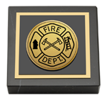 Fire Department Gifts and Desk Accessories Paperweight - Gold Engraved Medallion Paperweight