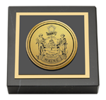 State of Maine Paperweight - Gold Engraved Medallion Paperweight