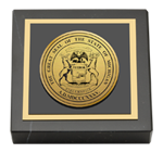 State of Michigan Paperweight - Gold Engraved Medallion Paperweight