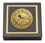 State of Montana Paperweight - Gold Engraved Medallion Paperweight