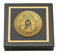 State of North Dakota Paperweight - Gold Engraved Medallion Paperweight