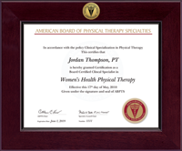 American Board of Physical Therapy Specialties Certificate Frame - Century Gold Engraved Certificate Frame in Cordova