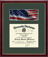 United States Army Certificate Frame - US Army Photo and Honorable Discharge Certificate Frame - Flag in Galleria