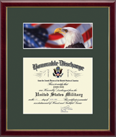 United States Army Certificate Frame - US Army Photo and Honorable Discharge Certificate Frame - Flag with Eagle in Galleria