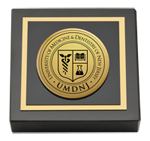 University of Medicine and Dentistry of New Jersey Paperweight - Gold Engraved Medallion Paperweight