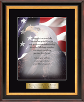 United States Coast Guard Graditude Frame - Military Gratitude Frame - Eagle Image with Brass Plate in Verona