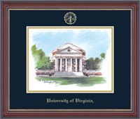 University of Virginia Lithograph  - Embossed Edition Lithograph Frame - Rotunda in Kensington Gold