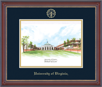 University of Virginia Lithograph - Embossed Edition Lithograph Frame - School of Law Landscape in Kensington Gold