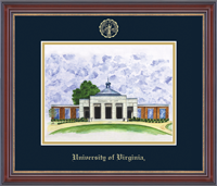 University of Virginia Lithograph  - Embossed Edition Lithograph Frame - School of Law Close Up in Kensington Gold