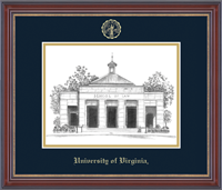 University of Virginia Lithograph - Embossed Edition Lithograph Frame - Black & White School of Law in Kensington Gold
