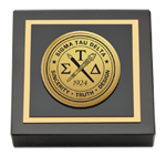Sigma Tau Delta Paperweight - Gold Engraved Medallion Paperweight