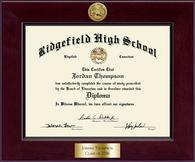 Ridgefield High School in Connecticut Diploma Frame - Century Gold Engraved Diploma Frame in Cordova