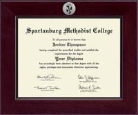 Spartanburg Methodist College Diploma Frame - Century Silver Engraved Diploma Frame in Cordova