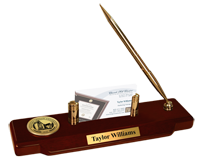 Western Oregon University Desk Pen Set - Gold Engraved Medallion Desk Pen Set