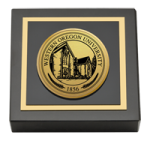 Western Oregon University Paperweight  - Gold Engraved Medallion Paperweight