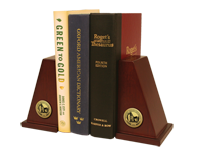 Western Oregon University Bookends - Gold Engraved Medallion Bookends