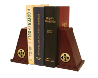 Cox College Bookend - Gold Engraved Medallion Bookends