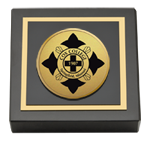 Cox College Paperweight - Gold Engraved Medallion Paperweight